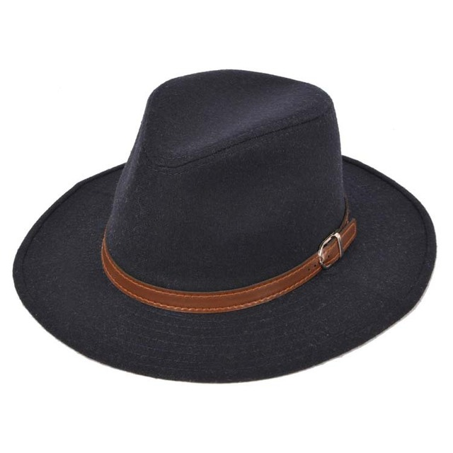 2015 Fashion Men Classic Felt fedora Hat Chapea Cap Upturn Masculino brown  PU Leather Ribbon Band Panama Hats Gentlemen Topper ae46df9cead