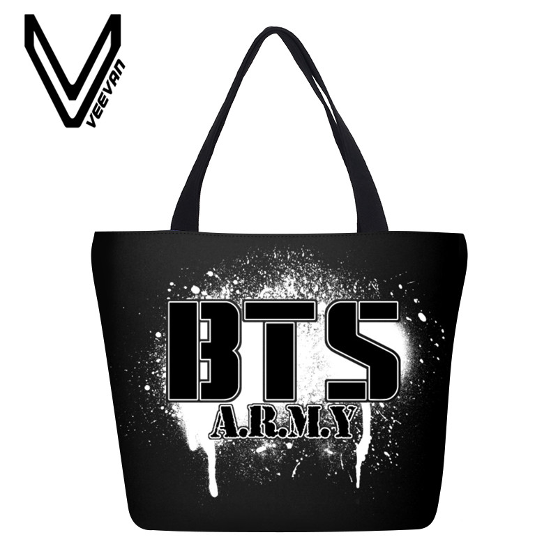 VEEVANV Brand 2017 New Designed Cartoon BTS Canvas Shopping Bags Girls Casual Handbag Portable Travel Grocery Bags SUGA JIM Bag