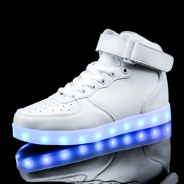 Fashion Colorful LED Luminous Chaussures USB rechargeables Flashing Lights Couple haut-top Souliers kcmASXUSmy