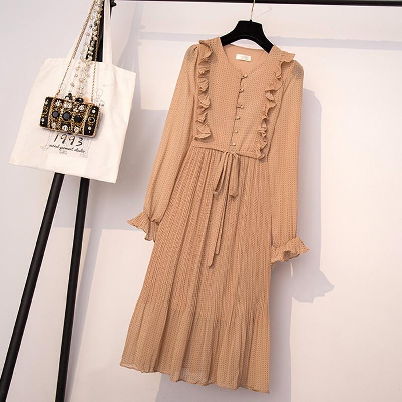 BGTEEVER Vintage O-neck Ruffles Chiffon Women Dress Flare Sleeve Polka Dot Lace Up Female Dress Two Layers Pleated Vestidos 23