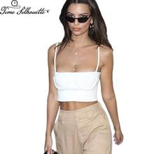 TIME SILHUETTE Summer Crop Top Women Crescent Moon Camisole Tank