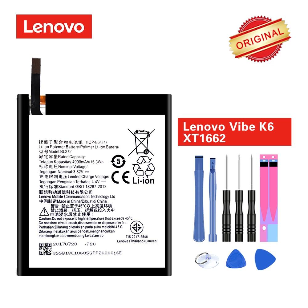 Original Battery BL272 for Lenovo Vibe K6 Power XT1662 K33A42 akku 3 82v  4000mAh with Repair Tools
