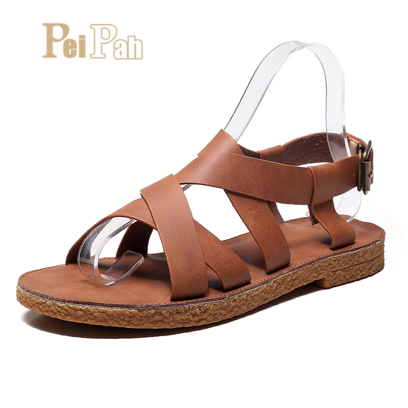 PEIPAH 2019 New Retro Handmade Summer Shoes Genuine Leather Women Flat Sandals Buckle Strap Flat With Gladiator Sandals WomenPEIPAH 2019 New Retro Handmade Summer Shoes Genuine Leather Women Flat Sandals Buckle Strap Flat With Gladiator Sandals Women