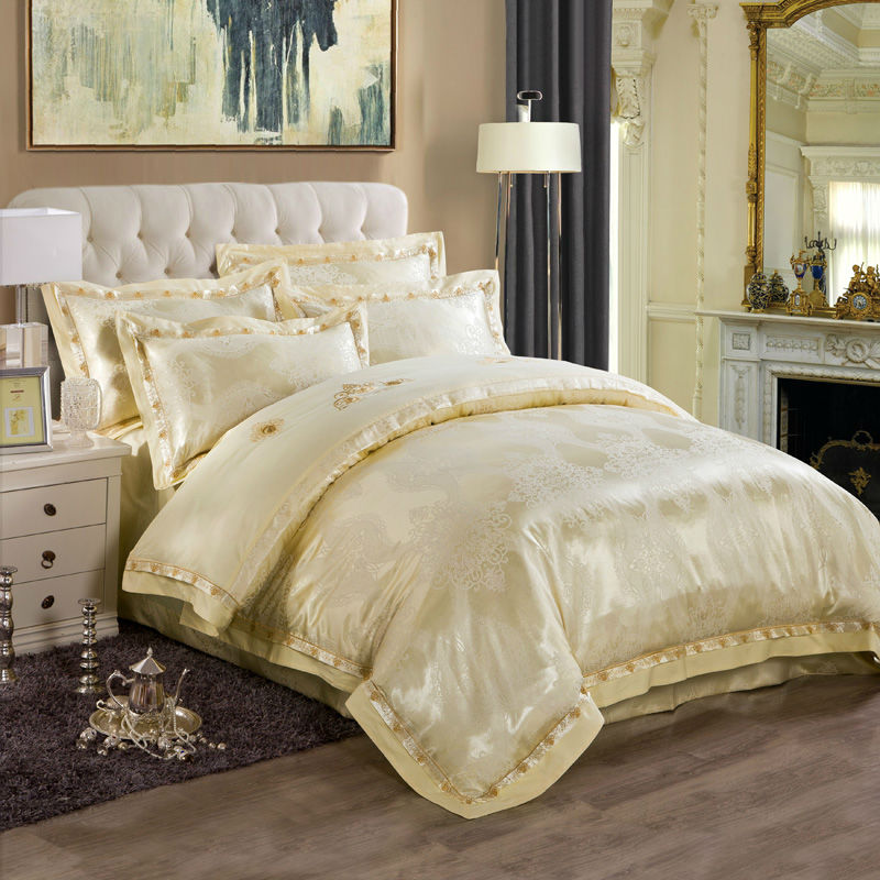 high end noble style bedding sets chinese retro print silk cotton jacquard queenking size