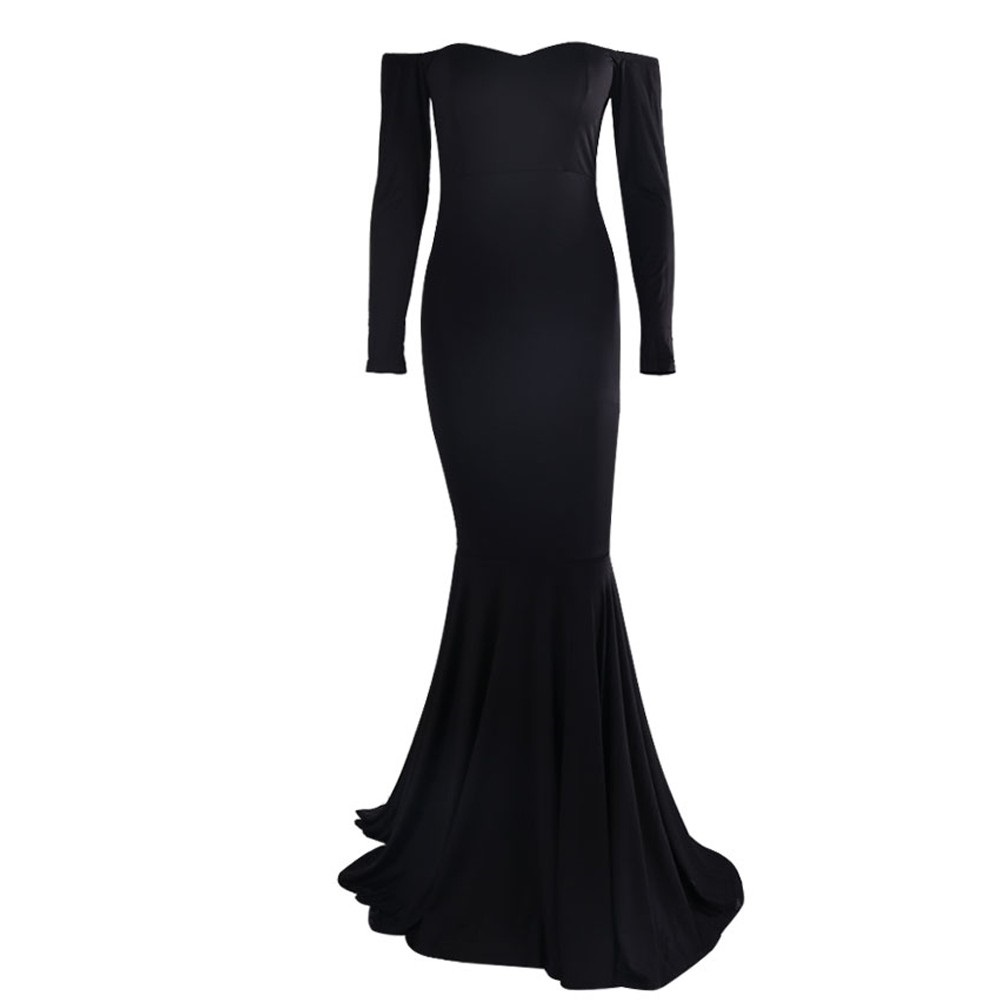 Black dress jersey - Plain Black Long Dress Solid Off Shoulder Simple Fitted Jersey Hong Kong