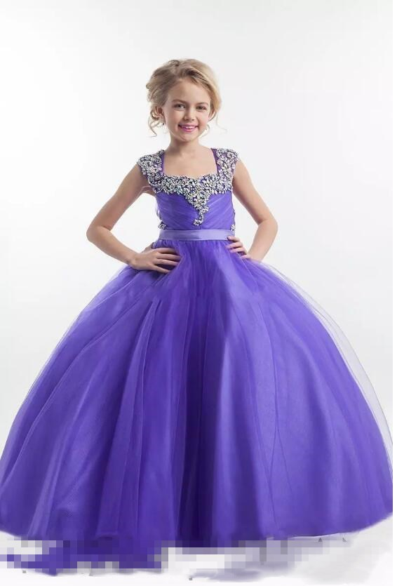Purple Flower Girl Dresses Square Neckline Sparkly Crystals Beaded Tulle Floor Length Open Back Birthday Party Dress Pagent Dres цены онлайн