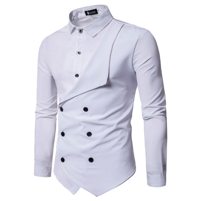 2019 Spring Men's Brand Shirt Personality Fake Two Irregular Men's Casual Slim British Long Sleeve Dress Shirt Camisa Masculina
