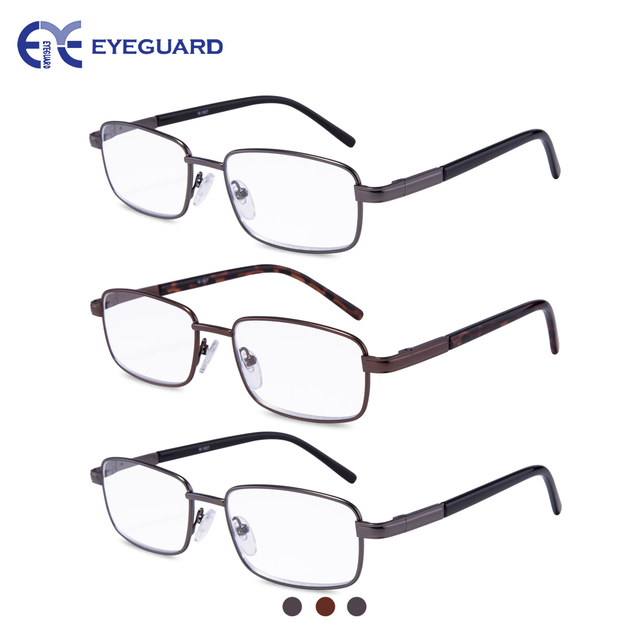 626695855a1 EYEGUARD 3 Pairs Metal Frames Deluxe Reading Glasses Comfortable Simple  Readers Magnification Reading Glasses for Men