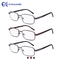 EYEGUARD 3 Pairs Metal Frames Deluxe Reading Glasses Comfortable Simple Readers Magnification Reading Glasses For Men