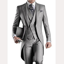 Light Gray Long Wedding Groom Tailcoat 2018 Custom Mens Suits Three Piece Groom Tuxedos Male Blazer