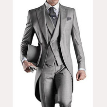 Light Gray Long Wedding Groom Tailcoat 2018 Custom Mens Suits Three Piece Groom Tuxedos Male Blazer Jacket Pants Vest