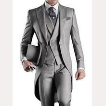 Light Gray Long Wedding Groom Tailcoat 2018 Custom Mens Suits Three Piece Groom Tuxedos Male Blazer Jacket Pants Vest