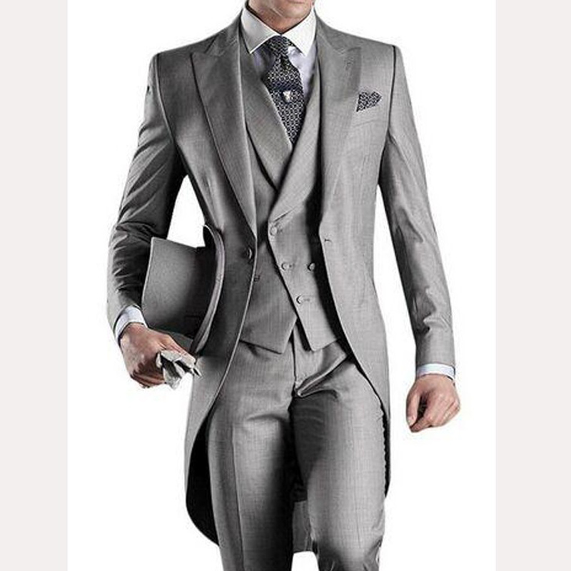 Light Gray Men Tail Coat For Wedding Groom Tuxedos 2019 3 Piece Formal Prom Mens Suits Set Jacket Pants Vest Classic Style