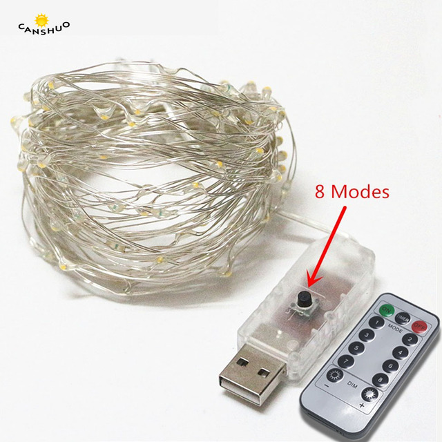10m 100led usb powered remote control led string lighting silver wire fairy light for wedding xmas