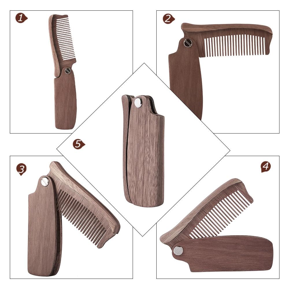 Multifunctional Beard Comb Hair Comb Brush Hairbrush for Men & Women Wood Folding Anti-static Moustache & Beard Comb Tools 4