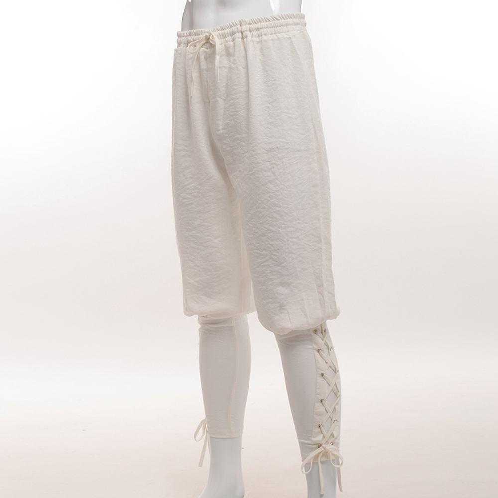 Men Halloween Medieval Renaissance Pirate Horseman Cosplay Costume Loose Pants Viking Black Brown Navigator Leg Bandage Trouser Anime Costumes Costumes & Accessories