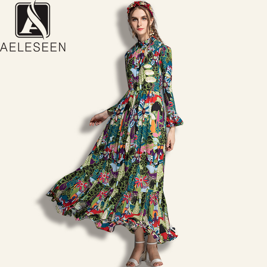 AELESEEN High Quality Boho Dresses 2019 Summer Spring Women s Flare Sleeve Ruffles Flower Print Stand