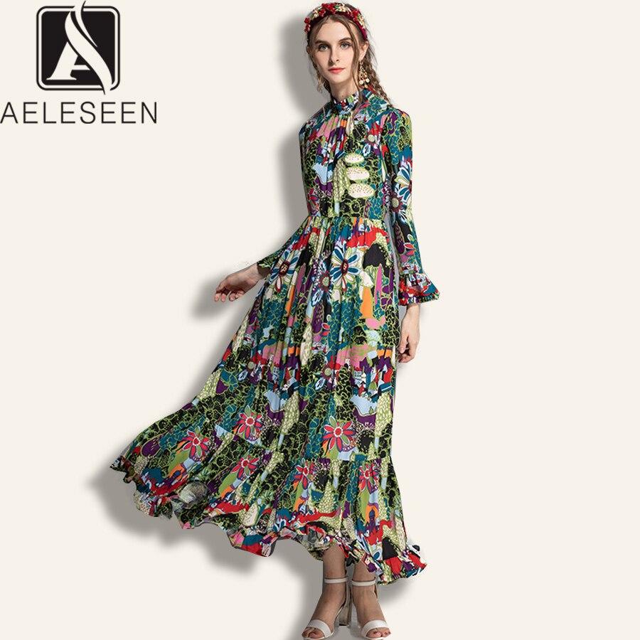 Vestidos Boho de alta calidad AELESEEN 2019 verano primavera mujer manga acampanada volantes flor estampado cuello alto playa vestido largo