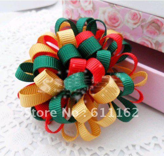 Лучшие продажи детская заколка для волос в форме цветка loopy мяч цвет смешанные петли мяч девочек b Детские волосы 120pcs3333