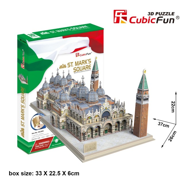 Montar modelo de papel Cubicfun 3D puzzle presente de aniversário DIY brinquedo ST. praça do mark Piazza San Marco edifício de arquitectura itália 1 pc