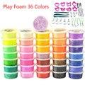 36 Чашки Play foam 36 цветов Мягкий Свет Цвет Глиняная Модель Магия Воздуха Сухой шлам Пластилин Пластилин слизи с пресс-форм