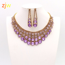 Plated pink crystal Rhinestone bridal jewelry statement for luxurious bride necklace earrings accessories women wedding banquet