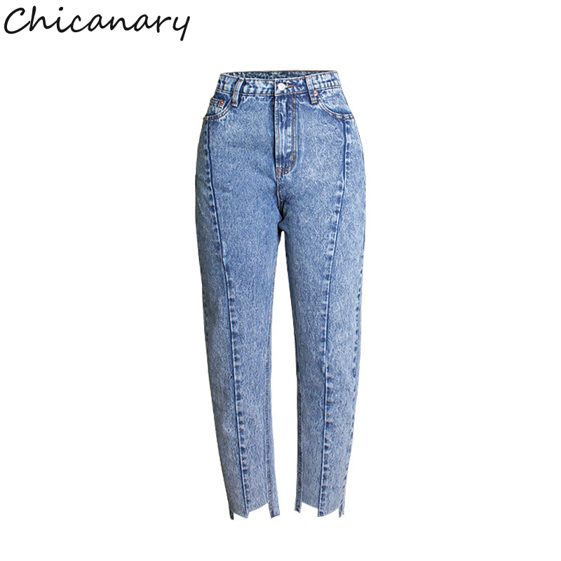 2017 Women Clothing High Waist Spliced Washed Denim Straight Pants Female Casual BF Style Loose Snow Cotton Asymmetry Jeans