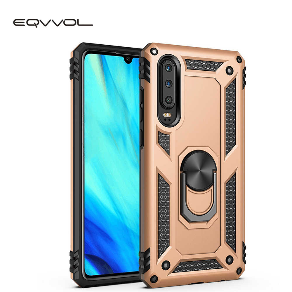 Eqvvol Armor Shockproof Phone Case For Huawei Honor 10 Lite P30 Pro P20 P smart Bracket Cases Stand Holder Cover For Y9 Y7 2019