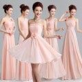 2017 recién llegado de pink prom dress for women elegante un line vestido de diseño de moda de la gasa formal sin tirantes atractivo lindo en stock