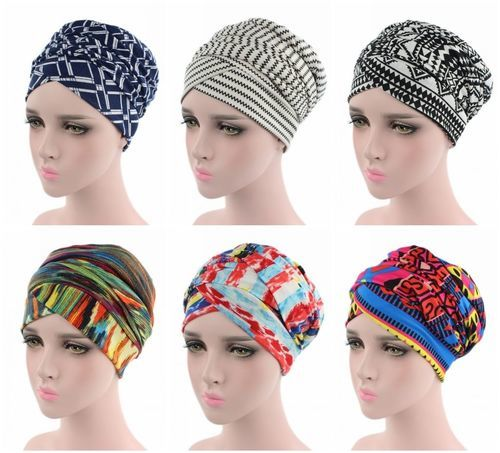 African Cap Stretch Women Fashion Muslim   Beanie     Skullies   Cap Head Cover Turban Headwear Cap Boho Chemo Hat Printed Slouch Hat