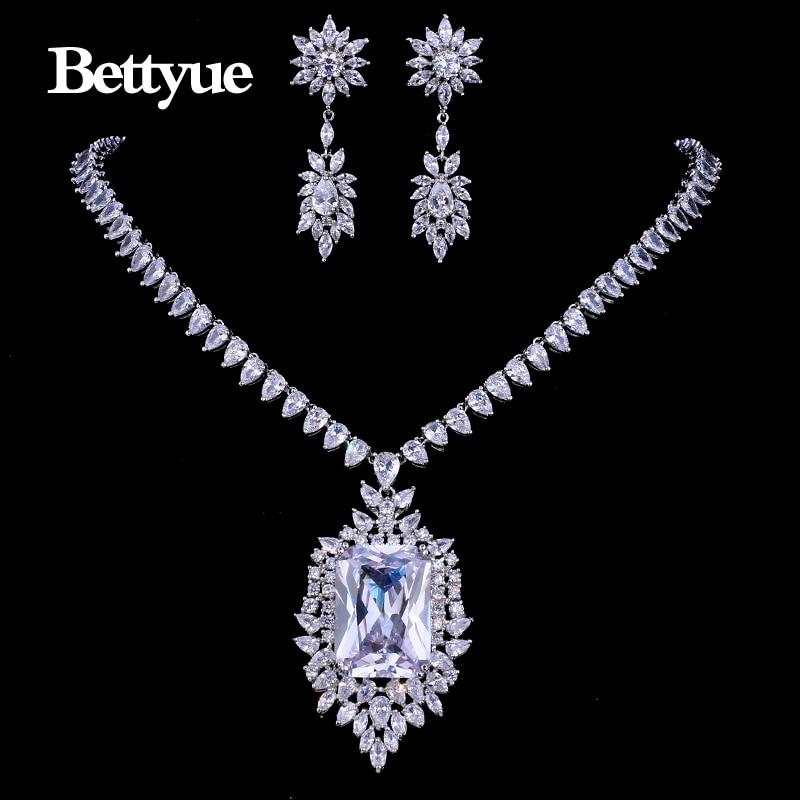 Bettyue marque charme grande forme carrée deux couleurs AAA cubique Zircon or blanc ensembles de bijoux pour femme Europe et amérique Style cadeau