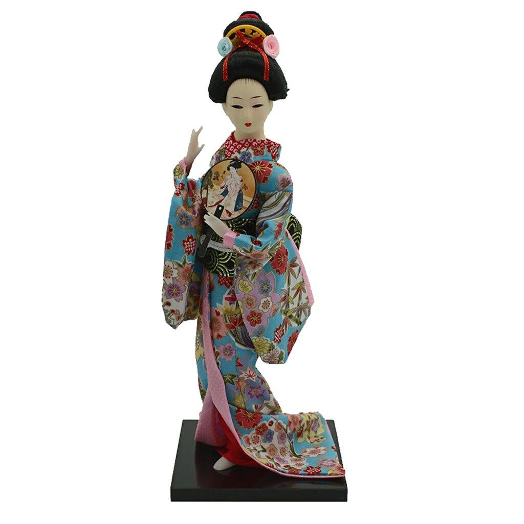12inch Japanese Kimono Geisha Dolls Kokeshi Crafts Decoration Floral Clothes