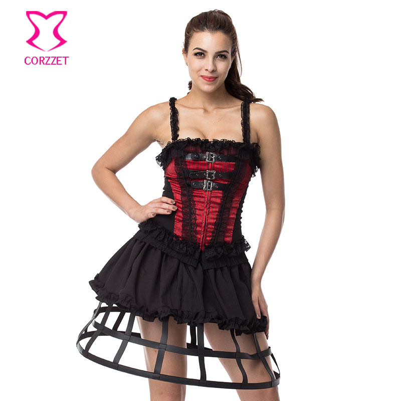 527a6340d41 Red and Black Zipper Corset with Straps Victorian Lace Sexy Bustier Top  Soft Waist Trainer Corsets and Bustiers Gothic Clothing-in Bustiers    Corsets from ...