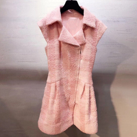 Розовый Мини платья для Для женщин осень отложной воротник леди элегантный платье без рукавов 2018 мода Твид платье