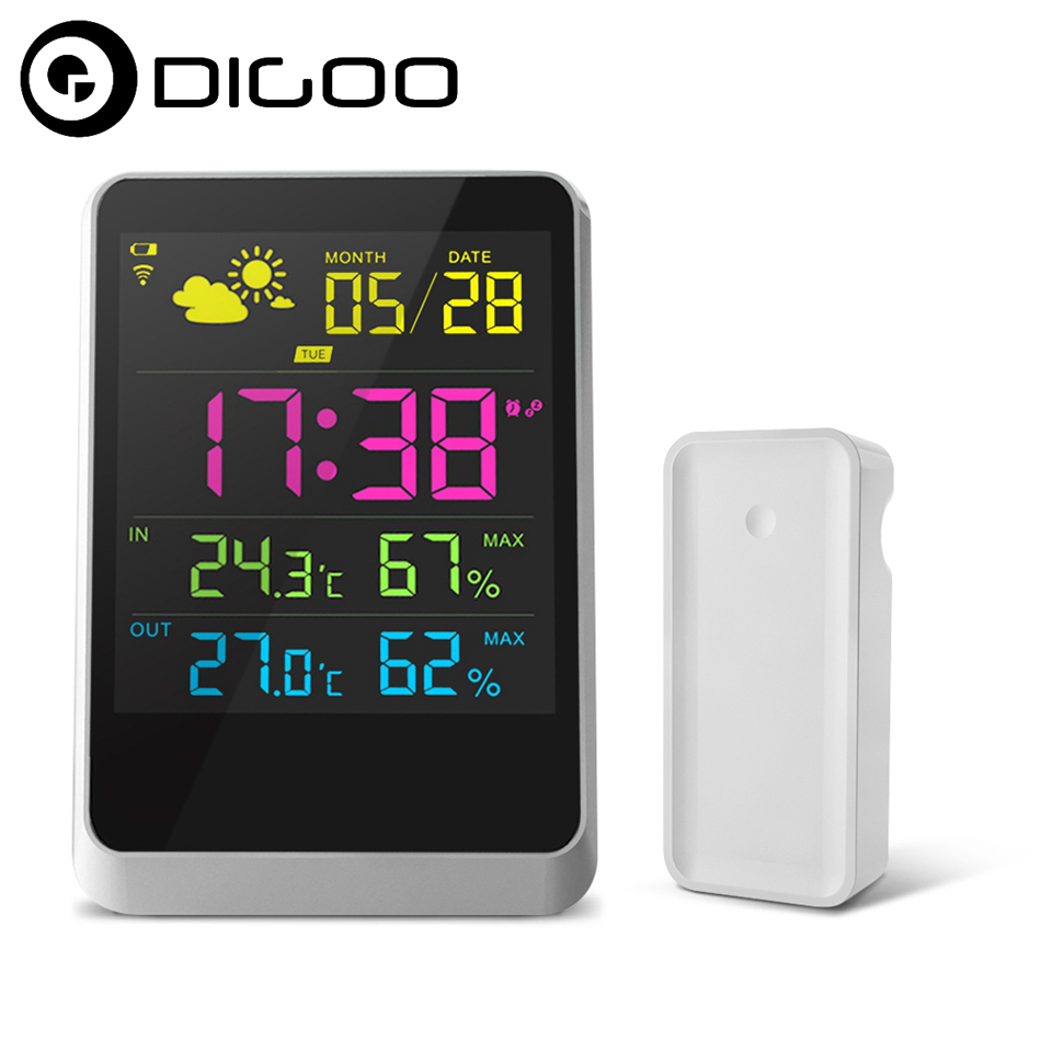 DIGOO DG-TH11200 HD Colorful Mini Weather Station Outdoor Indoor Thermometer Hygrometer Temperature Humidity Sensor Clock schneider electric actassi 10 vdi88290 10pcs