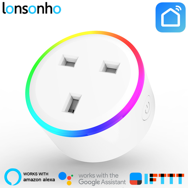 Lonsonho Ổ Cắm Thông Minh Wifi Thông Minh Cắm 10A ANH Cắm Ổ Cắm Cuộc Sống Thông Minh Hoạt Động Với Google Nhà Mini Alexa IFTTT