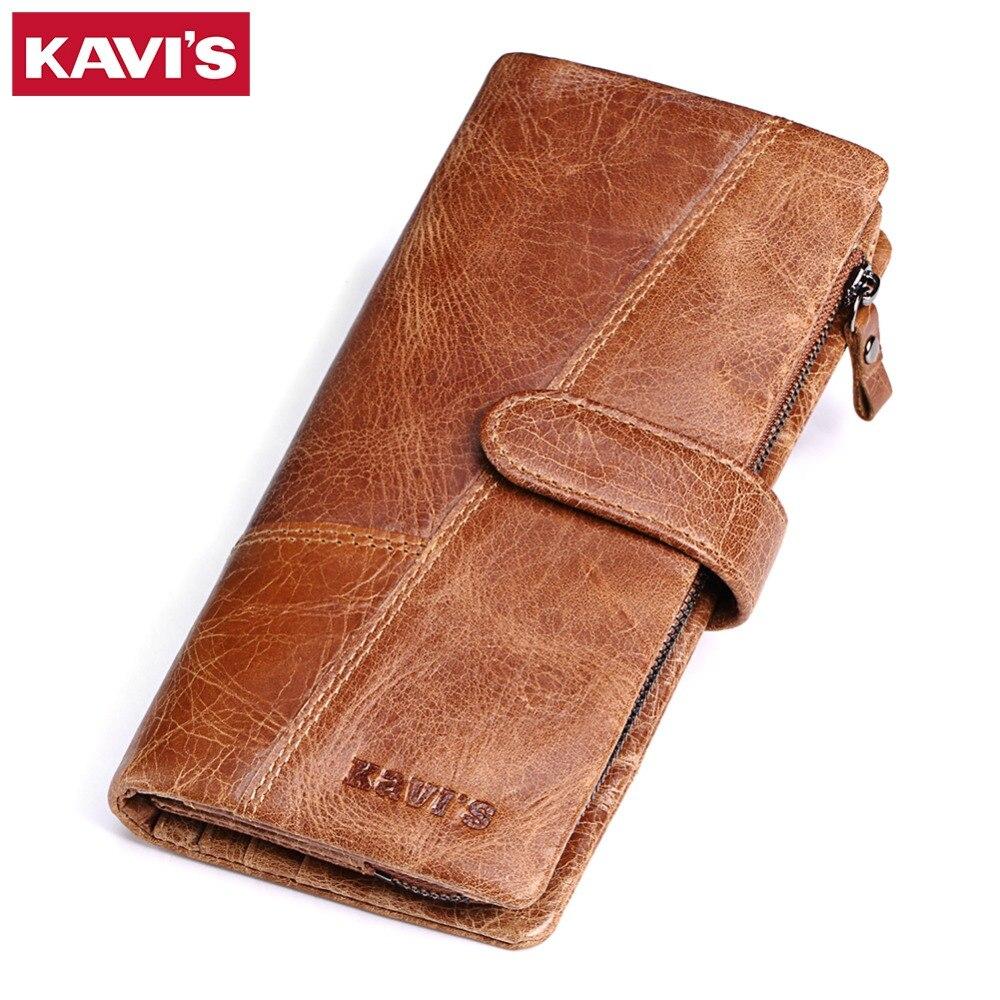 KAVIS 2017 New Designer Men Wallet Leather Wallets Casual Male Clutch Bag Brand Long Design Walet Genuine Leather Wallet For Men