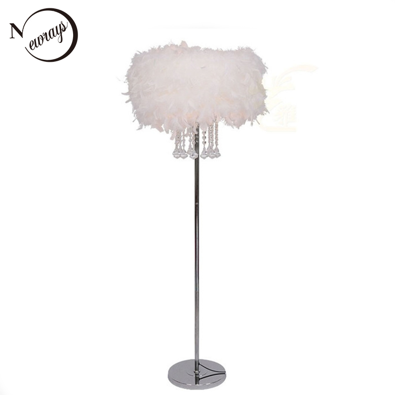 Modern European style feather crystal floor light E27 220V LED lustre floor lamp for bedroom restaurant living room study office modern minimalist living room floor north european style floor light study new floor lamp led vertical desk lamp zs105 lu1018