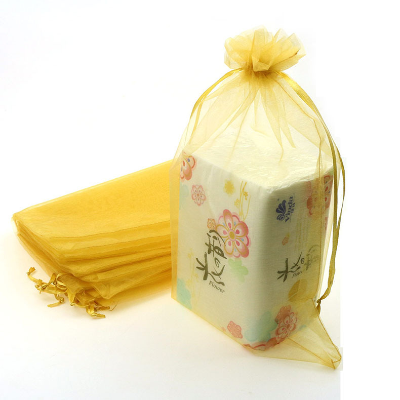 Gold Color Organza Jewelry Bags Cheap Organza Pouches Supply Gift Bags Customized Logo Printing 20x30cm 100pcs/lot Wholesale