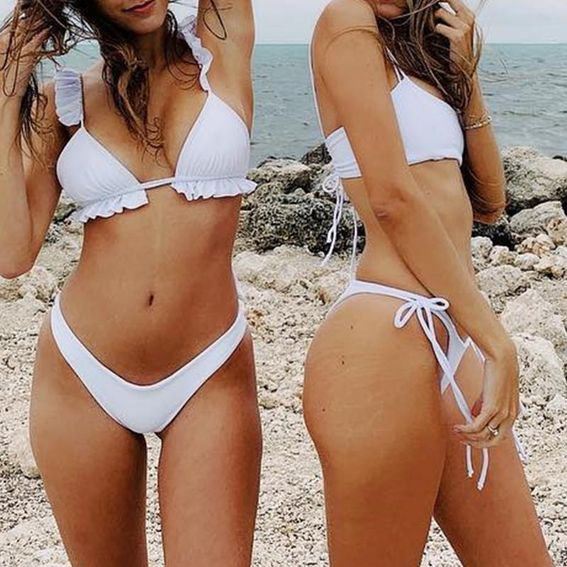 Peachtan Sexy bikini 2019 Mujer swimwear Women biquinis Feminino bathers Ruffles bathing suit Push up swimsuit Female beach wear