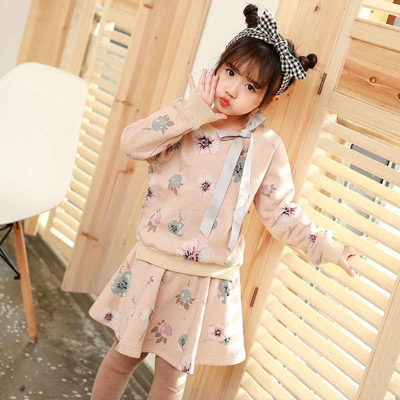 2017 Girls Autumn Winter Clothing Set Long Sleeve Sweatshirt Tops with Skirt Pants Fashion Clothes Set Kids Flower Bowknot he hello enjoy toddler girls clothes autumn winter girl clothing sets 2017 long sleeved jacket skirt pants flower clothing set