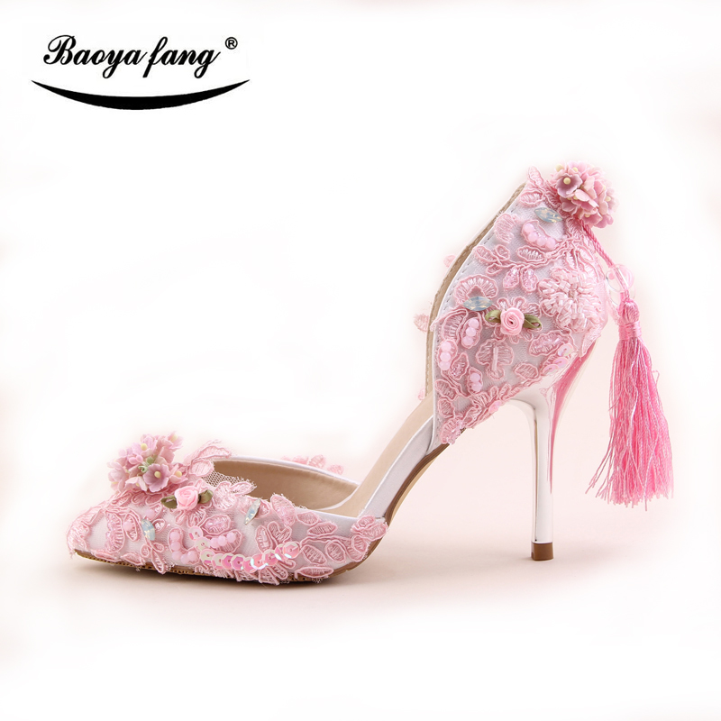 BaoYaFang New arrival Pink 9cm thin heel Pumps women Fashion wedding shoes Bride patry dress shoes Bridal tassel woman shoes