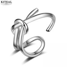 KITEAL Rings  S-R331 Girl Line Silve Sterling Ring For Jewelry Women Double Hipster 925 Fashion Knot Opening