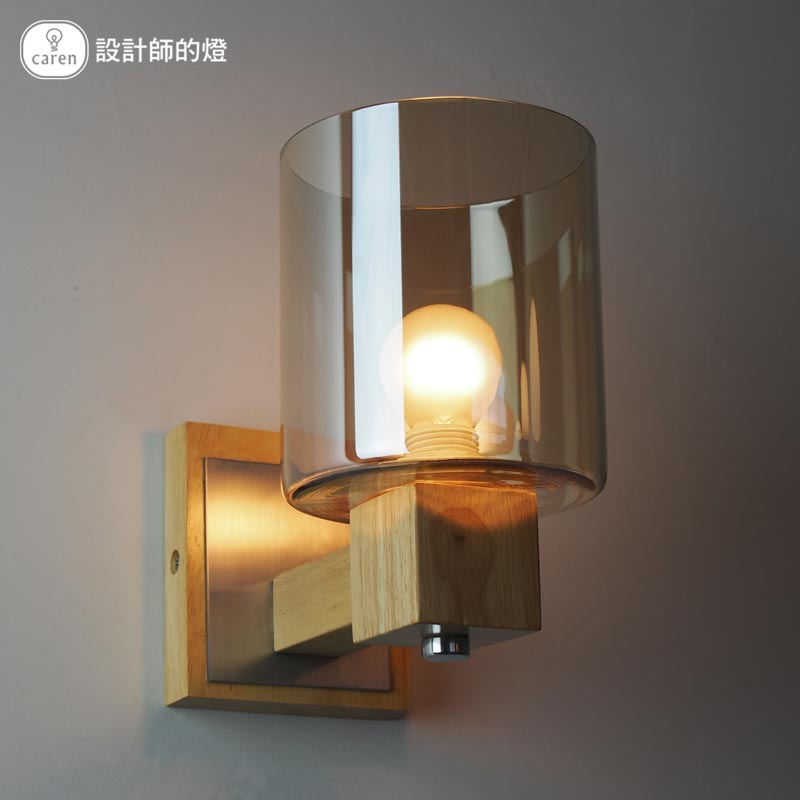 Nordic Idesign Oak Solid Wood Wall Lamp Glass Cover Light