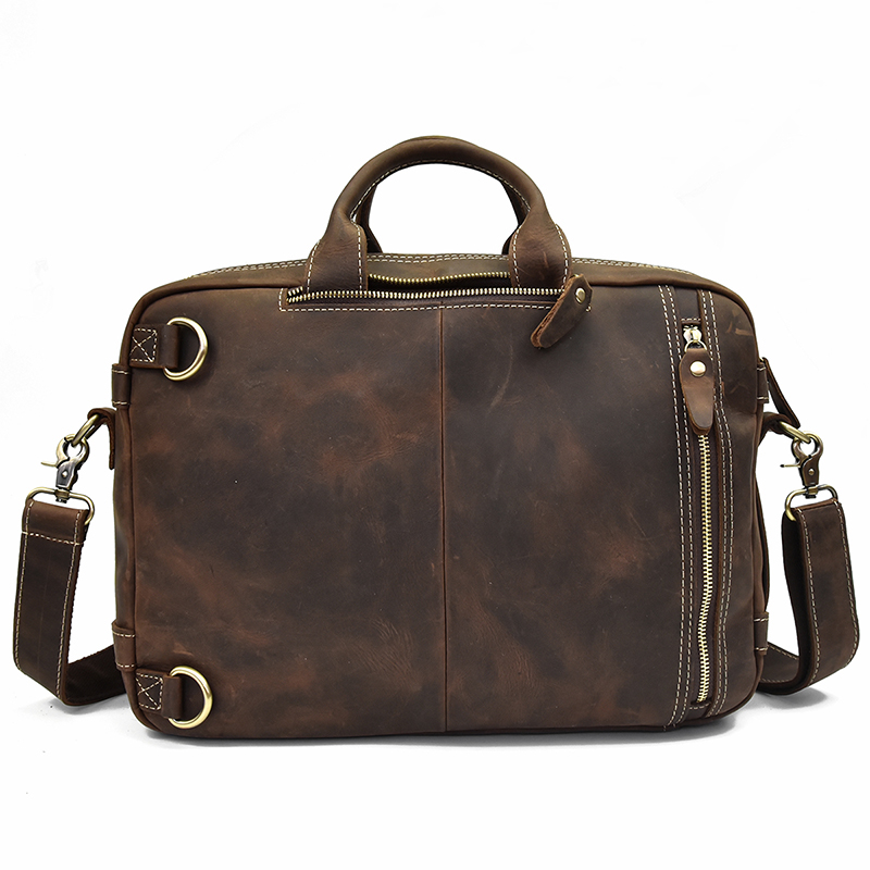 "Men Genuine Leather Laptop Backpack 15"" Pc Crazy Horse Leather Business Bag 2 Use Cow Leather Shoulder Bags 3 Layer Work Tote #3"