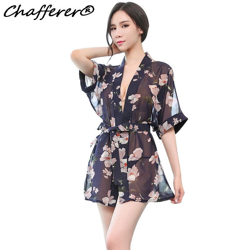Chafferer Women Chiffon Printing Sexy Lingerie Hot Erotic Babydoll Sleepwear Summer Transparent Underwear Comfortable Costumes