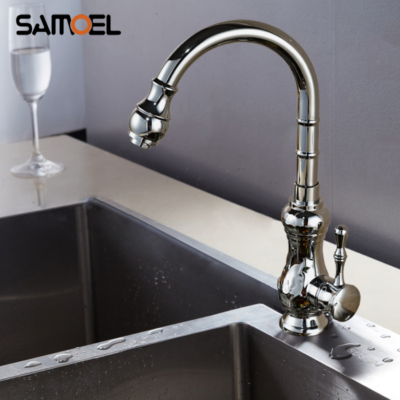 Deck Mounted Brass Kitchen Sink Faucets Mixers Single Handle Chrome Finish Rotate Kitchen Cold Hot Water