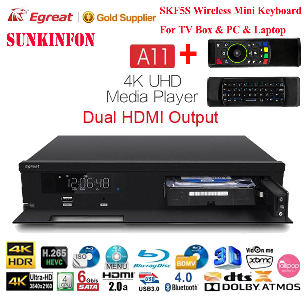 Egreat A11 3D 4K Blu-ray HDD Media Player 2GB 16GB Dual HDMI Output Bluetooth Android TV Box Dolby Atmos/DTS:X, for Home Theatre проигрыватель dvd sony bdp s6500 3d blu ray 4k mkv hdd ntfs wi fi dts hd
