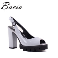 Bacia Full Grain Leather Sandals 10 9cm Thick High Heels Fashion Platform Spring Summer Shoes Size