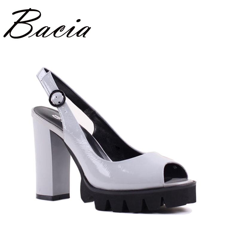 Bacia Pleine fleur Sandales En Cuir 10.9 cm Épais Haute Talons Plate-Forme de Mode Printemps Chaussures D'été Taille 33-41 Rose gris chaussures SA022